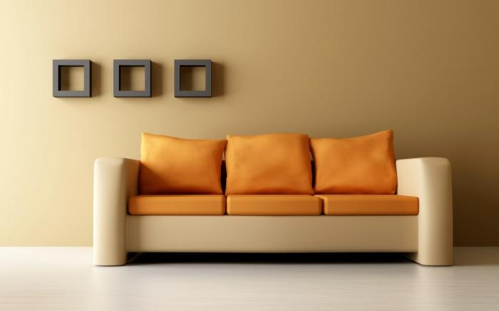 moderne-inneneinrichtung-orange-sofa-und-artikel-an-der-wand