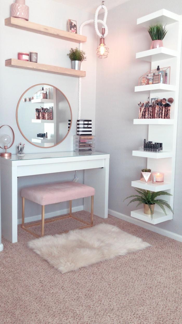 moderne inneneinrichtung schönes jugendzimmer mit toilettentisch großer runder spiegel großes regal weiß