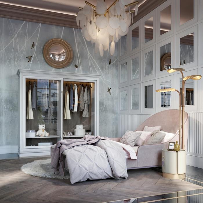 moderne luxus jugendzimmer beleuchtung pinkes bett moderne möbel graue wand großer kleiderschrank