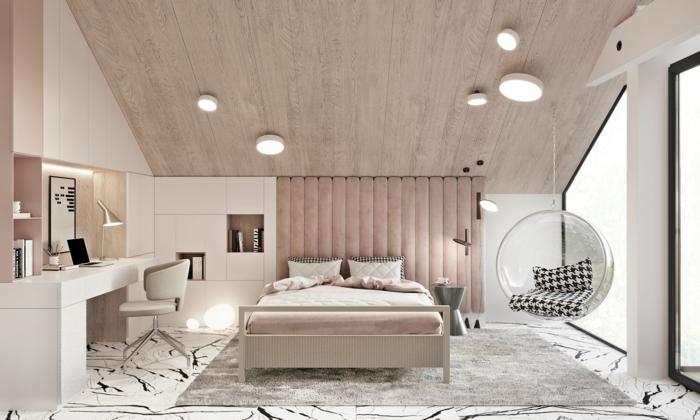 moderne luxus jugendzimmer dachschräge im zimmer minimalistische inneneinrichtung rougetöne kontrast
