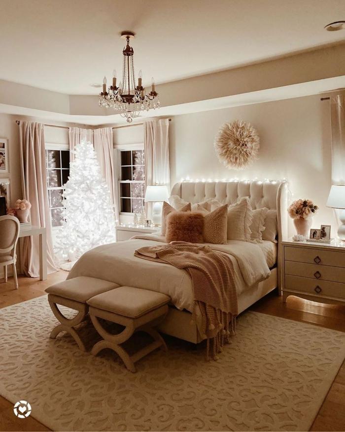 moderne luxus jugendzimmer mädchen großes bett beige töne luxuriöse inneneinrichtung minimalistische inneneinrichtung