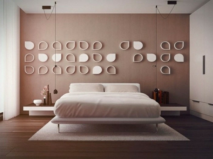 modernes-Schlafzimmer-Cappuccino-Wände-weiße-Deko-Elemente