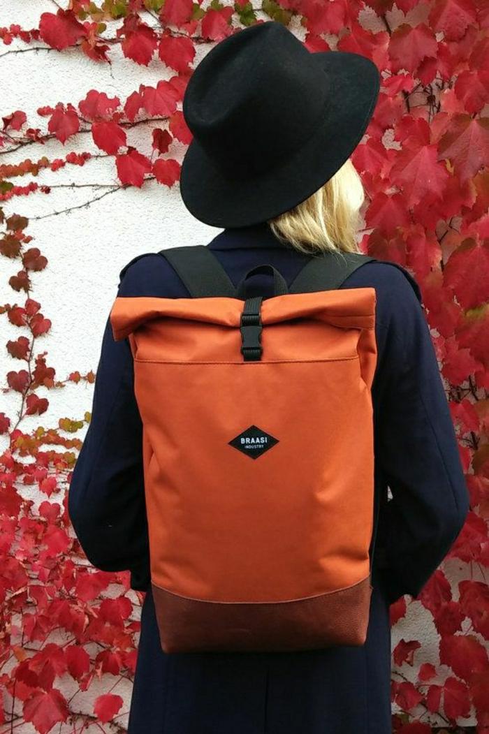 orange-Damen-Rucksack-alltäglich-sportlich-Reiserucksack