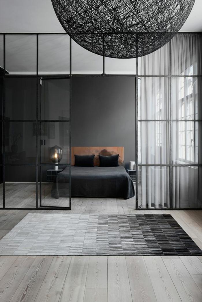 raumtrennung-ideen-schwarzes-ultramodernes-schlafzimmer