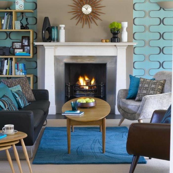 retro farben wohnzimmer:kamin und retro möbel im wohnzimmer – vintage möbel
