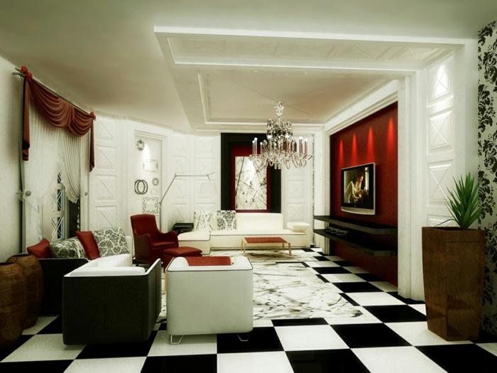 retro farben wohnzimmer:retro-wohnzimmer-boden-in-weiß-und-schwarz