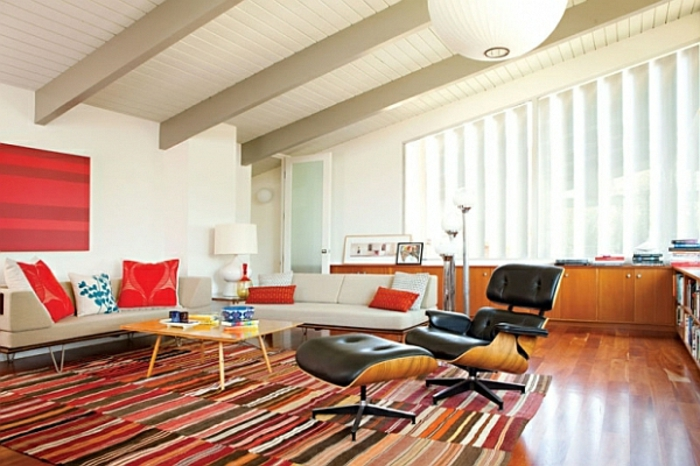 retro wohnzimmer:retro-wohnzimmer-bunter-schöner-teppich