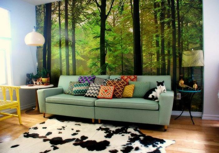 retro-wohnzimmer-fantastische-grüne-wandgestaltung