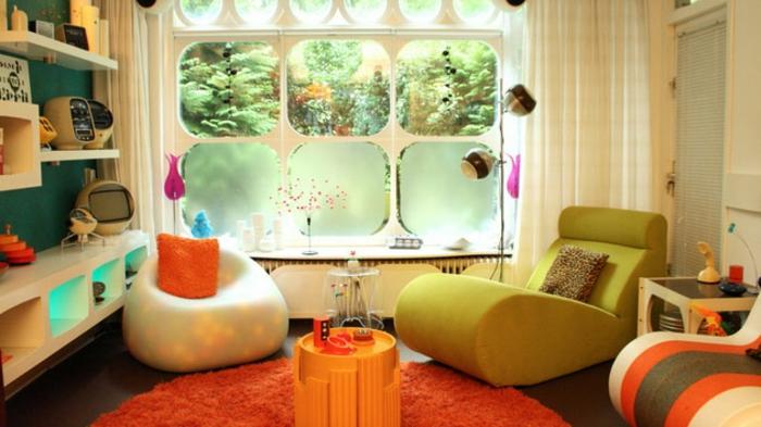 retro farben wohnzimmer:attraktives retro wohnzimmer mit teppich in orange – wohnen vintage