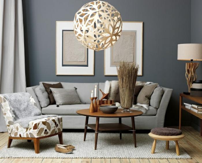 retro-wohnzimmer-kugelförmiger-kronleuchter - deko vintage