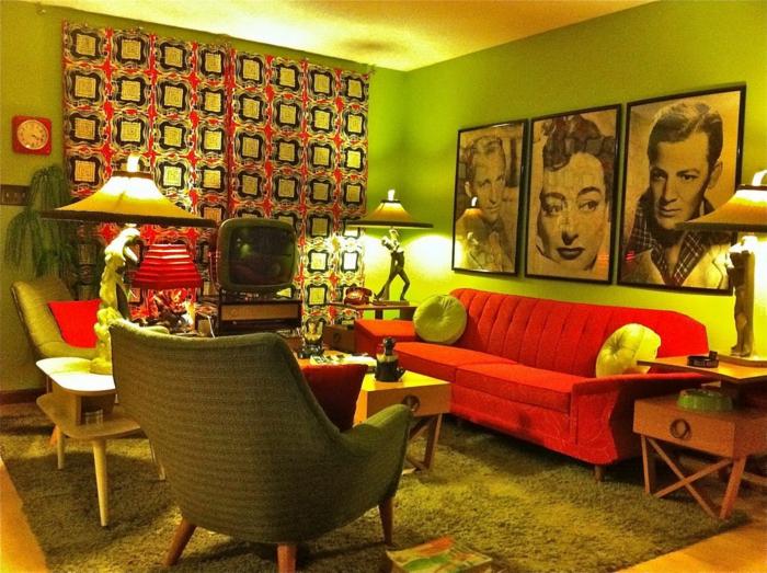 bilder wohnzimmer retro:Vintage bilder wohnzimmer : retro wohnzimmer rotes sofa und kreative