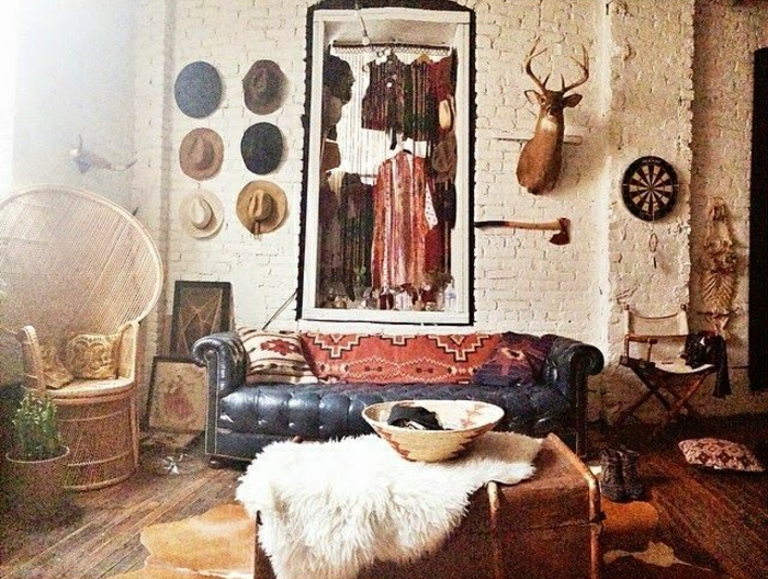 rustik-Stil-Chesterfield-Strohhüte-Hirschkopf-Tierhaut