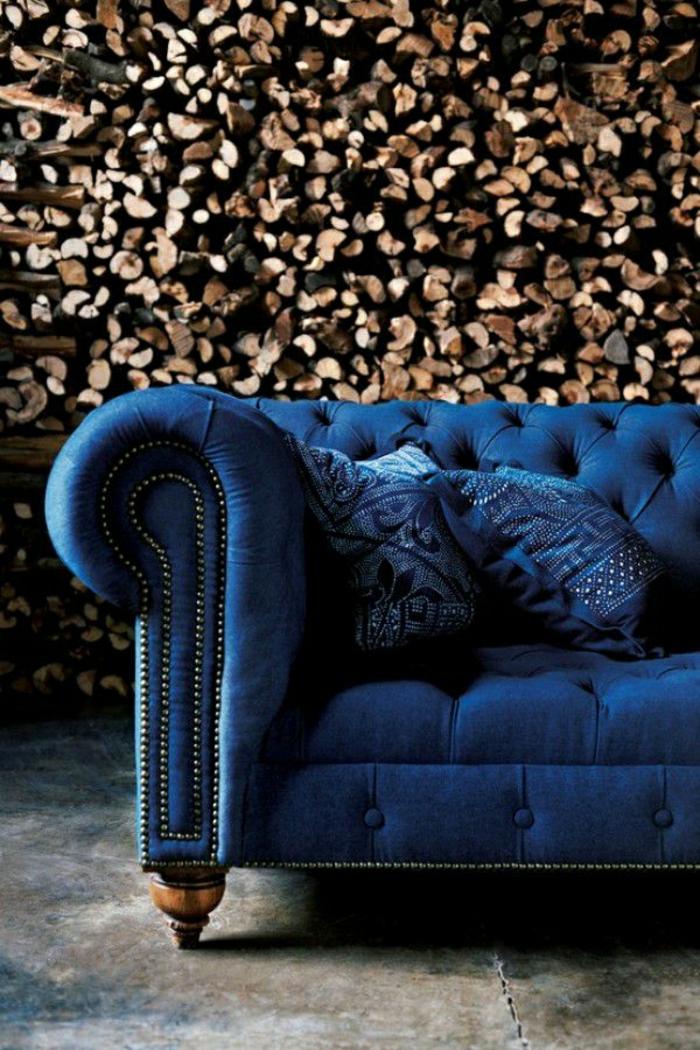 rustik-blaues-Samt-Chesterfield-Sofa
