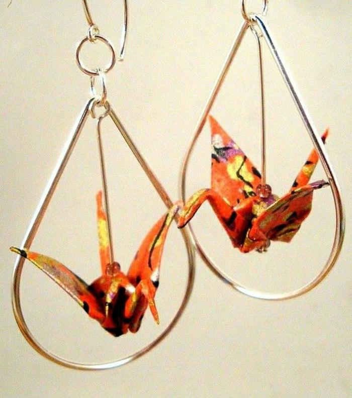 süße-Origami-Kranich-Ohrringe