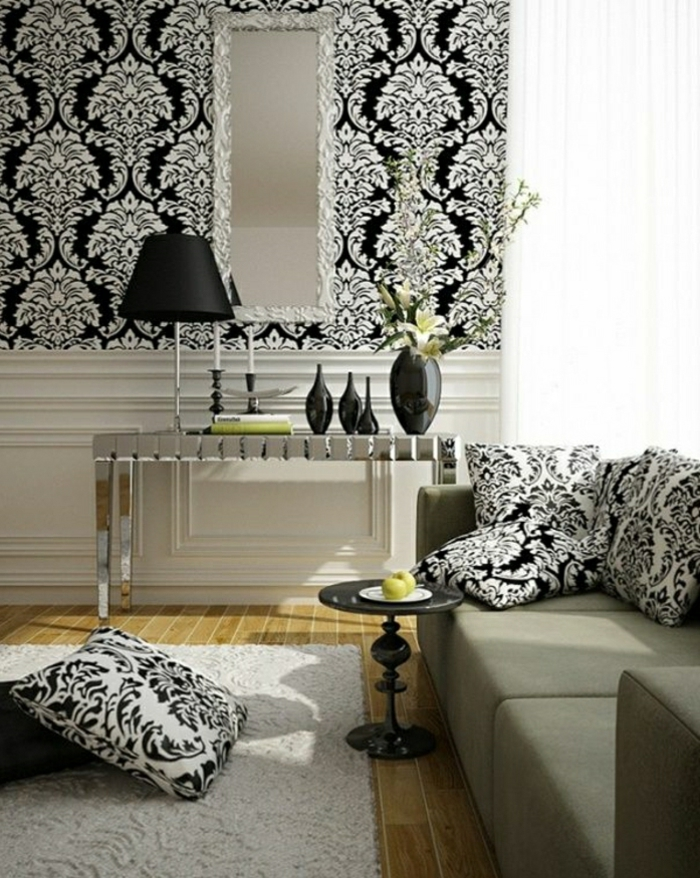 schwarz-weiße-Barock-Tapete-Kissen