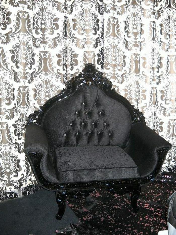 schwarz-weißer-Barock-Design-Tapete-Kaiser-Stuhl