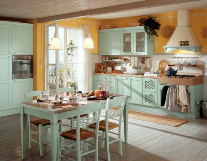shabby-chic-küche-blaue-möbelstücke