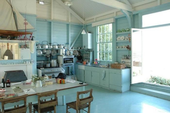 shabby-chic-küche-blaues-interieur