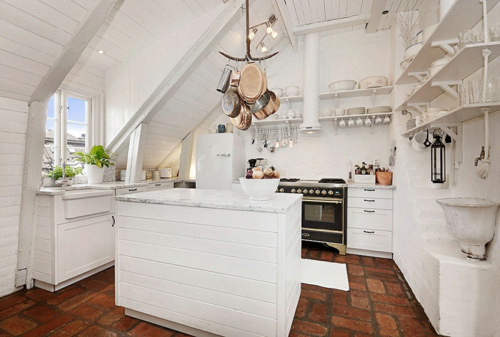 shabby-chic-küche-interessante-gestaltung-von-dachwohnung