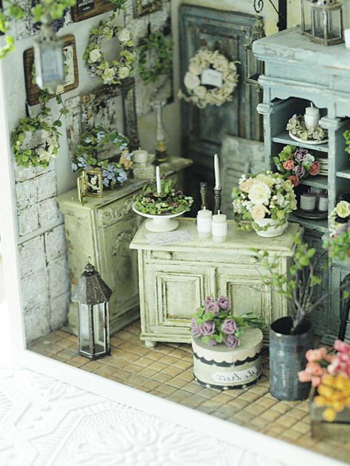 shabby-chic-küche-zahlreiche-dekoartikel