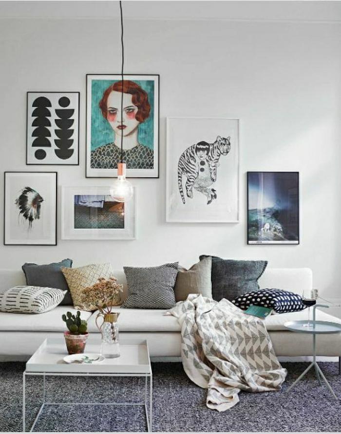 skandinavische-Wohnung-abstrakte-Bilder-Frau-Tiger-graphische-Darstellungen
