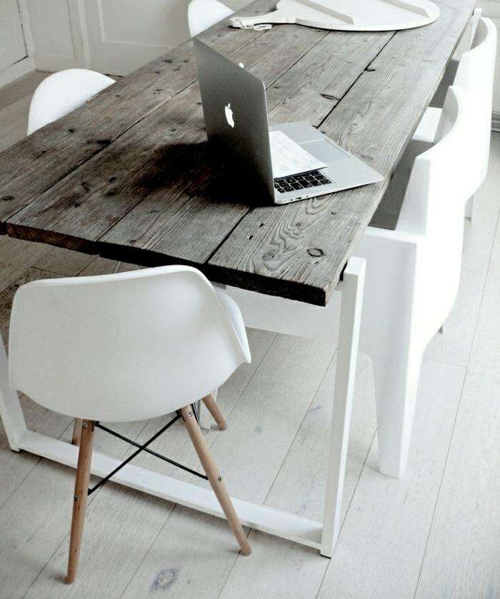 skandinavisches-Design-weiß-Holz-Tisch-Stühle-Esszimmer