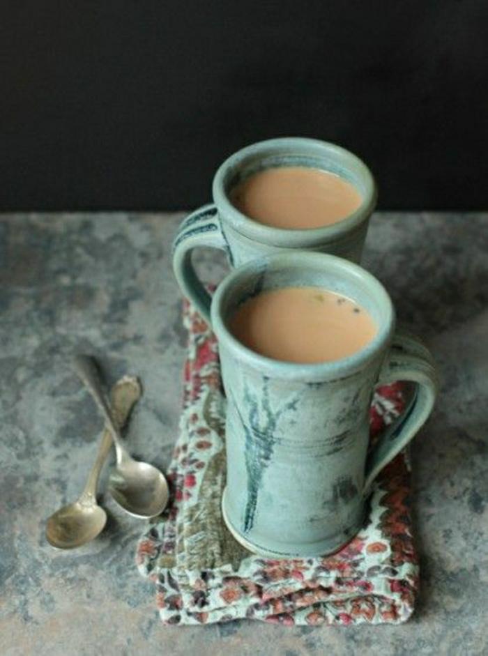 vintage-Cappuccino-Tassen-türkisgrün