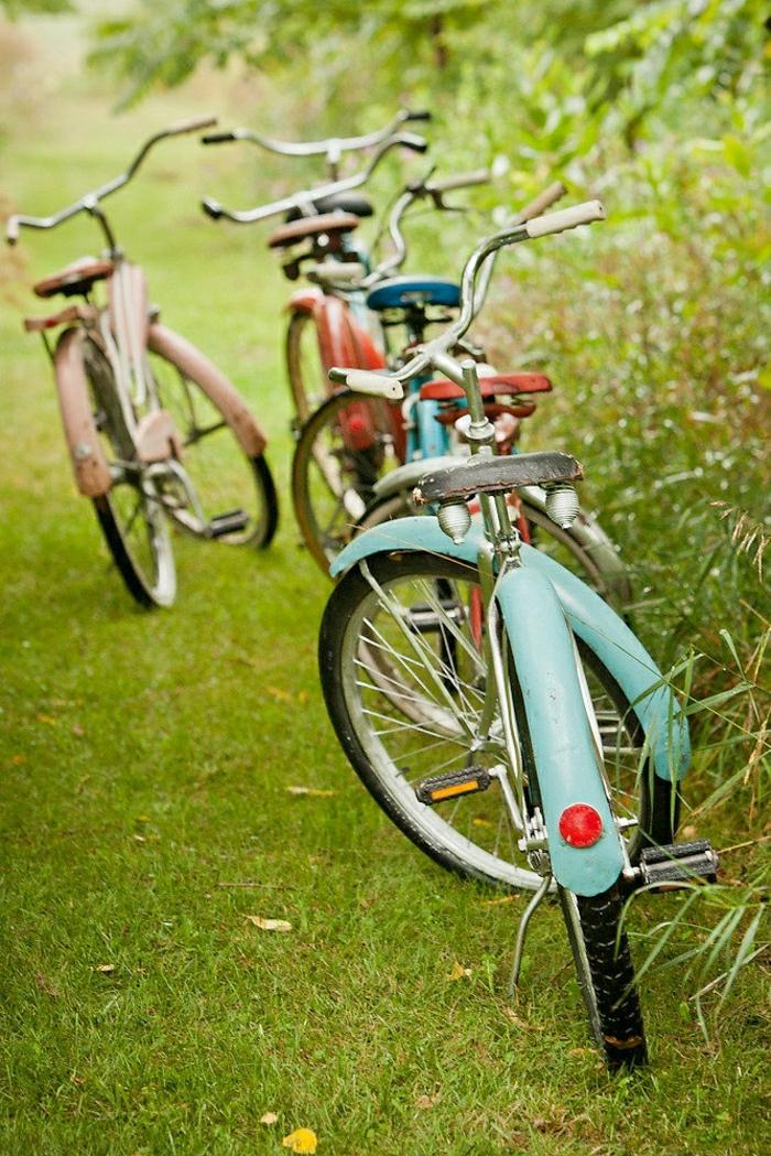 vintage-Fahrräder-Gras-verschiedene-Farben