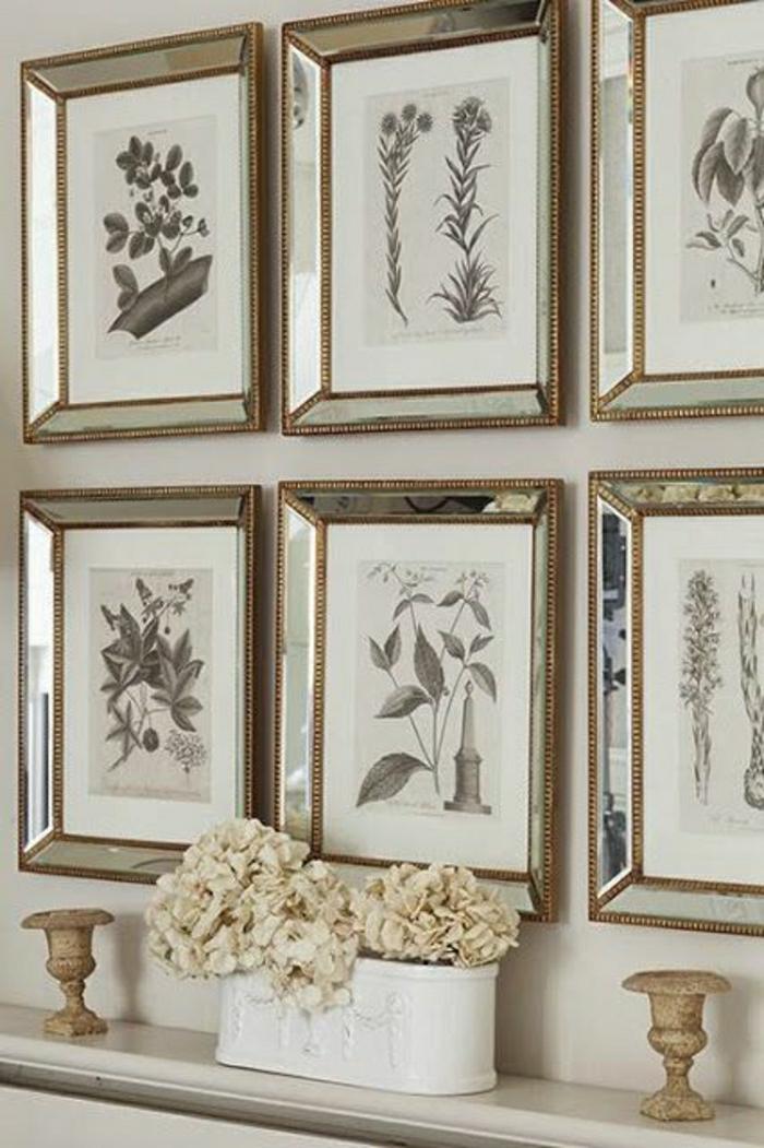 vintage-Zimmergestaltung-Wandbilder-Pflanzen-Blumen-goldene-Rahmen
