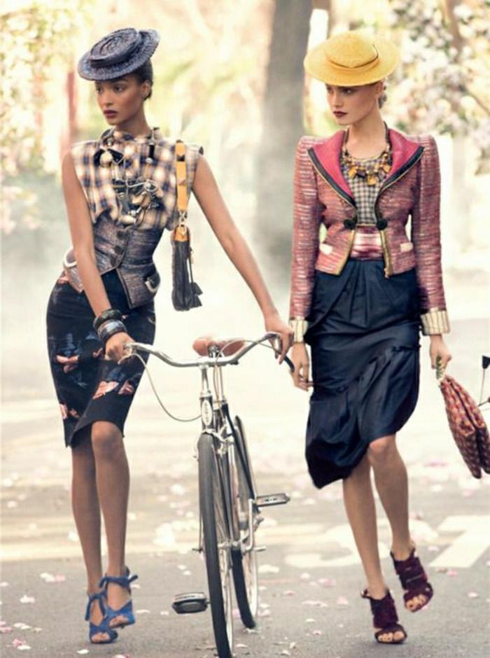 vintage-retro-Fahrrad-Mädchen-Foto-Modelle