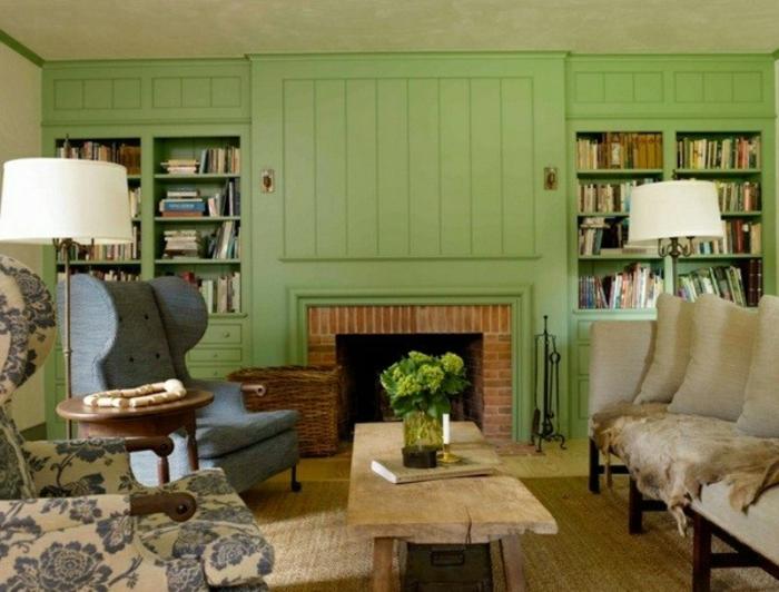 wandgestaltung-im-landhausstil-wand-in-grüner-farbe