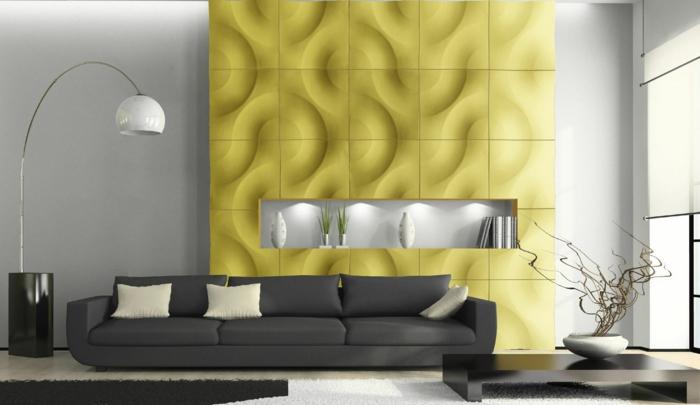modernes-interior-mit-gelber-wandpaneele
