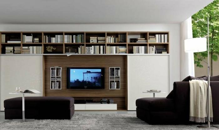 -wandpaneele-holz-wohnzimmer-gestalten-wohnzimmer-einrichten-wandpaneele-tv-wand-fernsehwand TV Wandpaneel