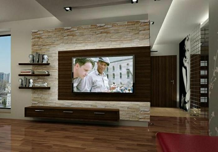 wohnzimmer ideen tv wand: -wohnzimmer-einrichten-wohnzimmer-wandgestaltung TV Wandpaneel