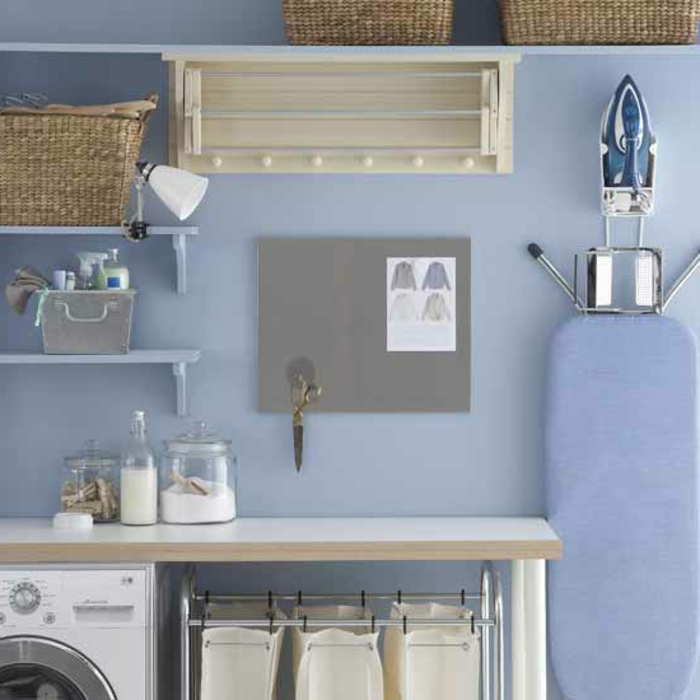 waschküche-einrichten-blaue-wand-und-weiße-möbel