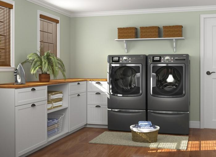 waschküche-einrichten-schwarze-waschmaschinen-weiße-schränke