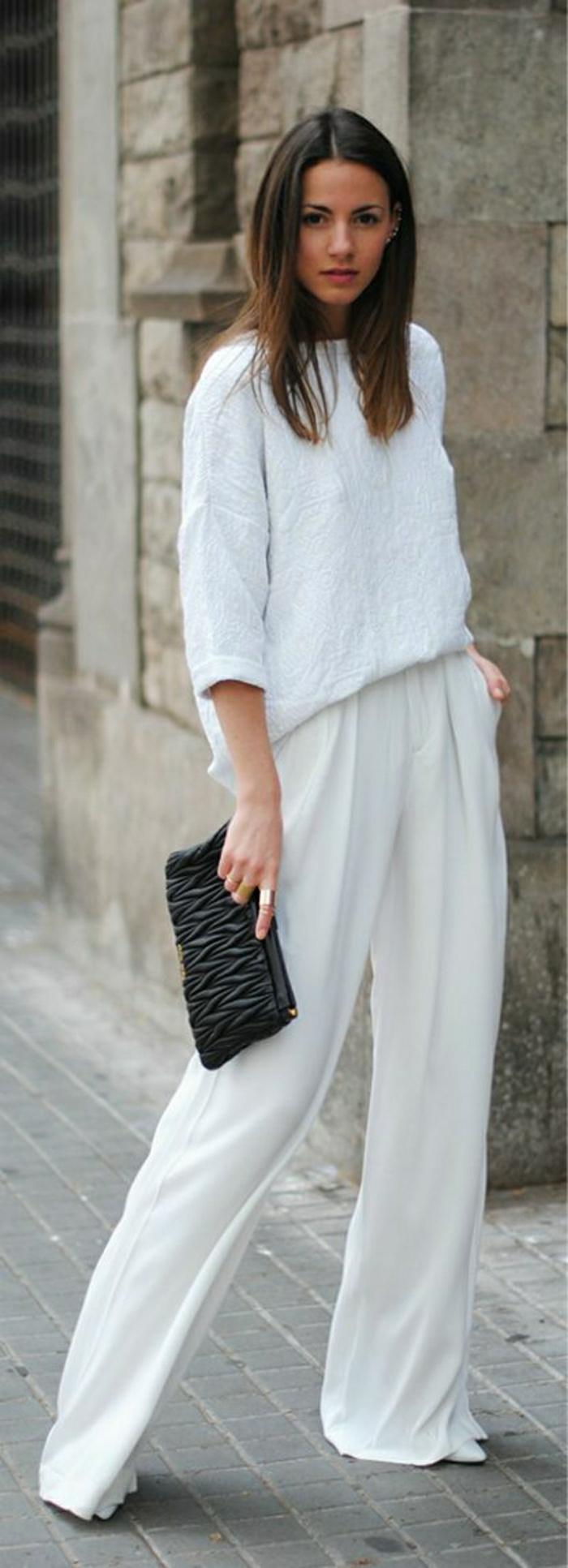 weiße-Hosen-Bluse-Clutch-schwarz-elegant
