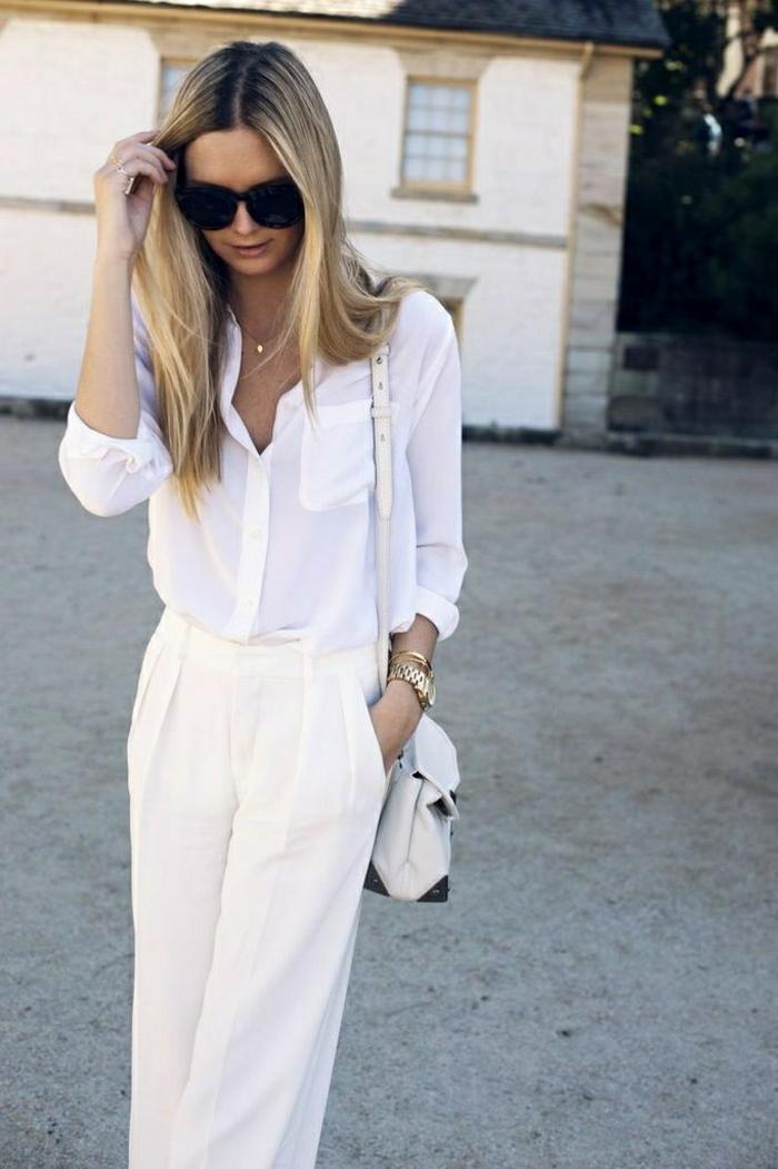 weiße-Kleider-Sommer-Hosen-Hemd