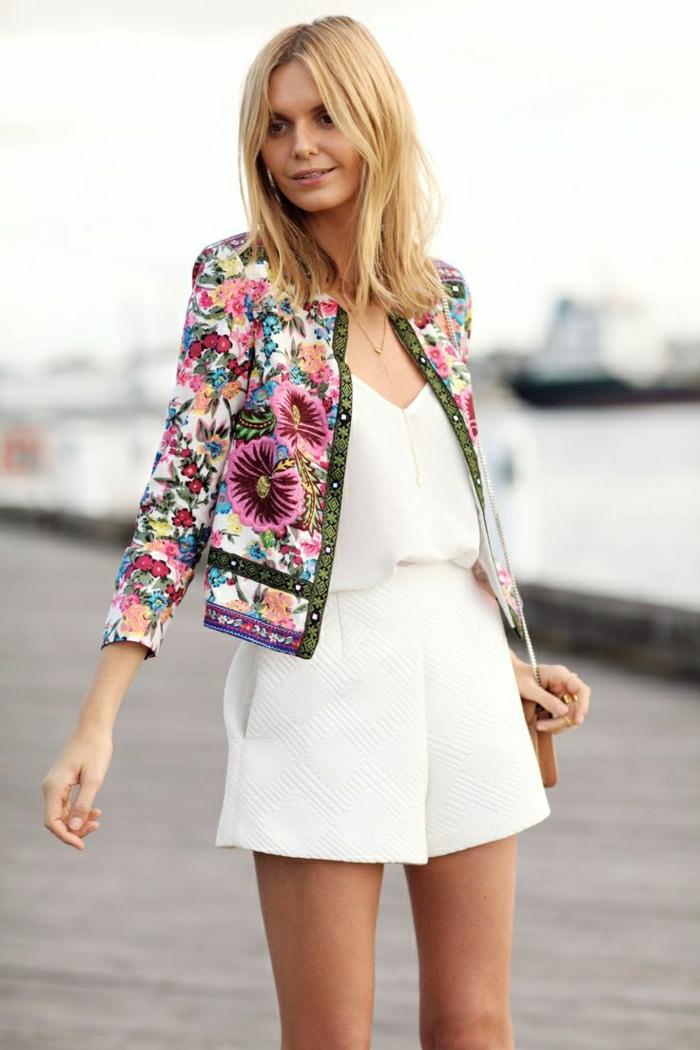weiße-Sommerkleidung-hohe-Taille-Shorts-Top-Sakko