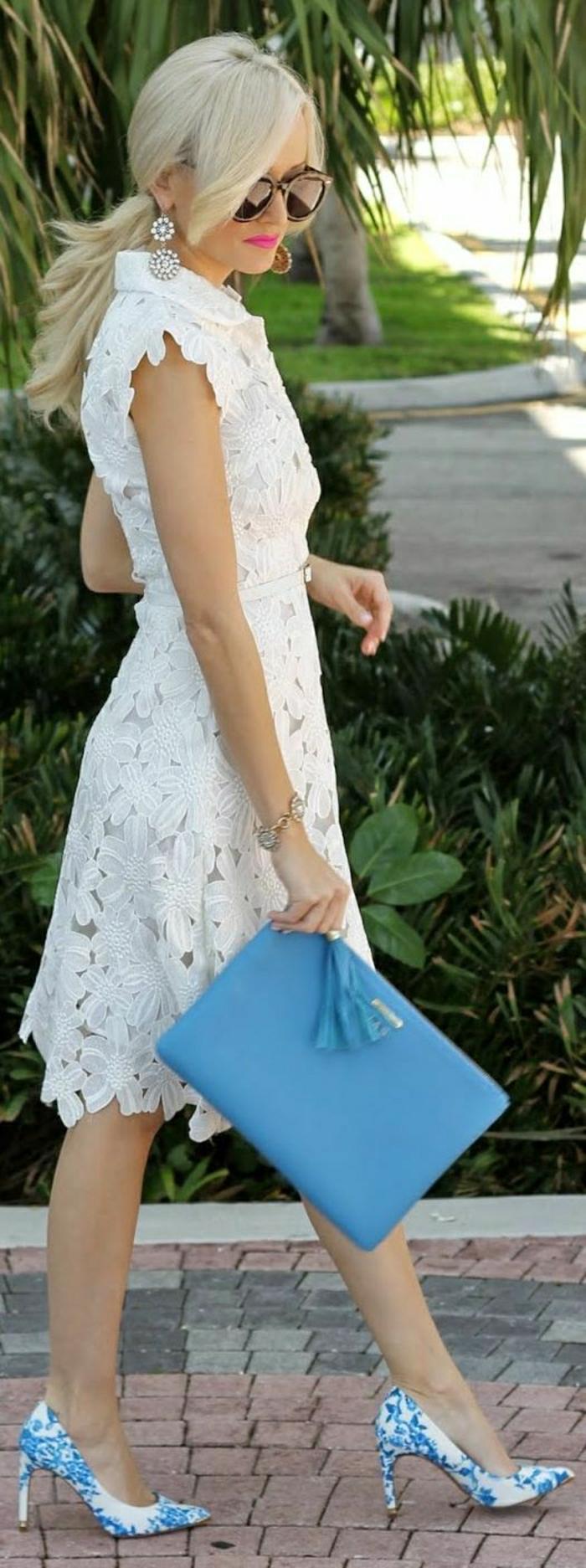 weißes-Kleid-Stickerei-blauer-Clutch-Schuhe-chinesischer-Porzellan-Muster