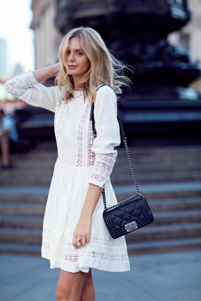 weiße-Sommerkleider-Stickerei-Chanel-Tasche