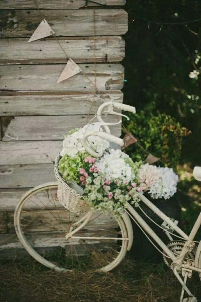 weißes-vintage-Fahrrad-Korb-Blumen-Holzgebäude