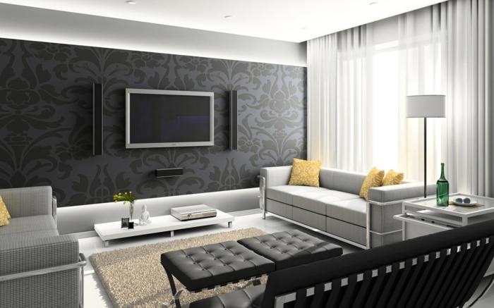 wohnzimmer modern : wohnzimmer modern schwarz weiß ~ inspirierende ... - Moderne Wohnzimmer Schwarz Weiss