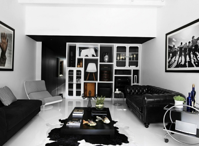 38 kreative wohnideen in schwarz und wei. Black Bedroom Furniture Sets. Home Design Ideas