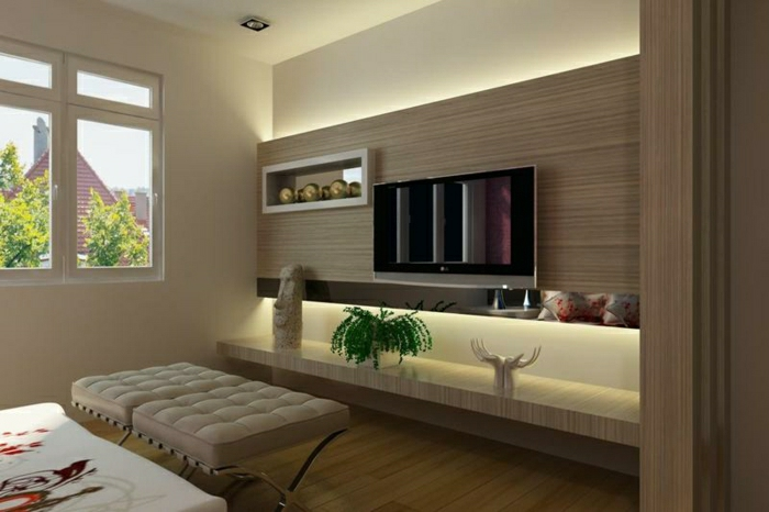 wohnzimmer tv wand ideen:LED TV Wall Panel Designs