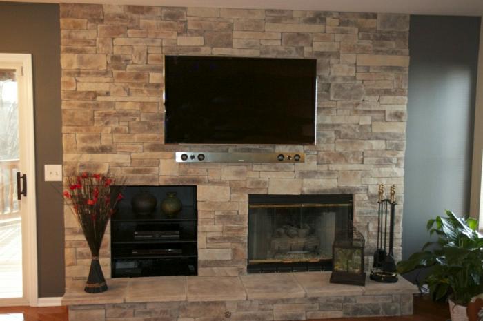 wohnzimmer ideen : wohnzimmer ideen tv wand stein ~ inspirierende ... - Wohnzimmer Ideen Tv Wand Stein
