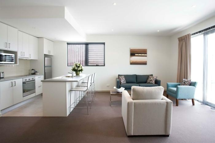 Innenausstattung wohnzimmer  Wohnzimmer mit Küche: 34 moderne Designs! - Archzine.net