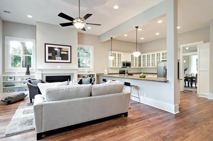 wohnzimmer-mit-küche-graues-modell-vom-sofa