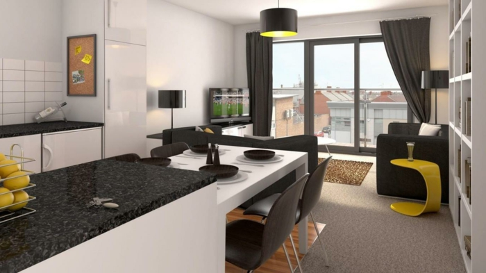 wohnzimmer küche design:wohnzimmer mit küche – gläserne wand und dunkle gardinen