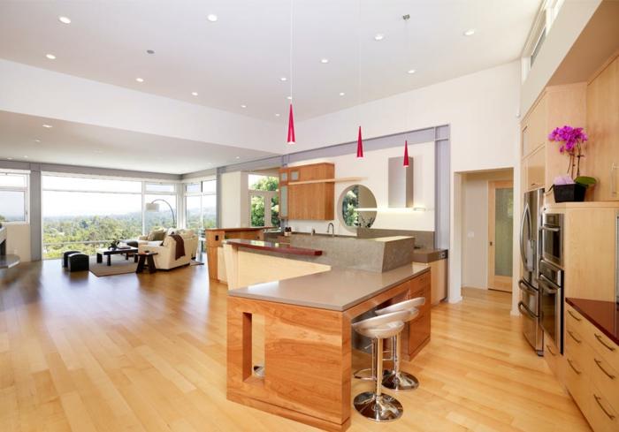 wohnzimmer-mit-küche-hölzernes-modell-vom-zimmer